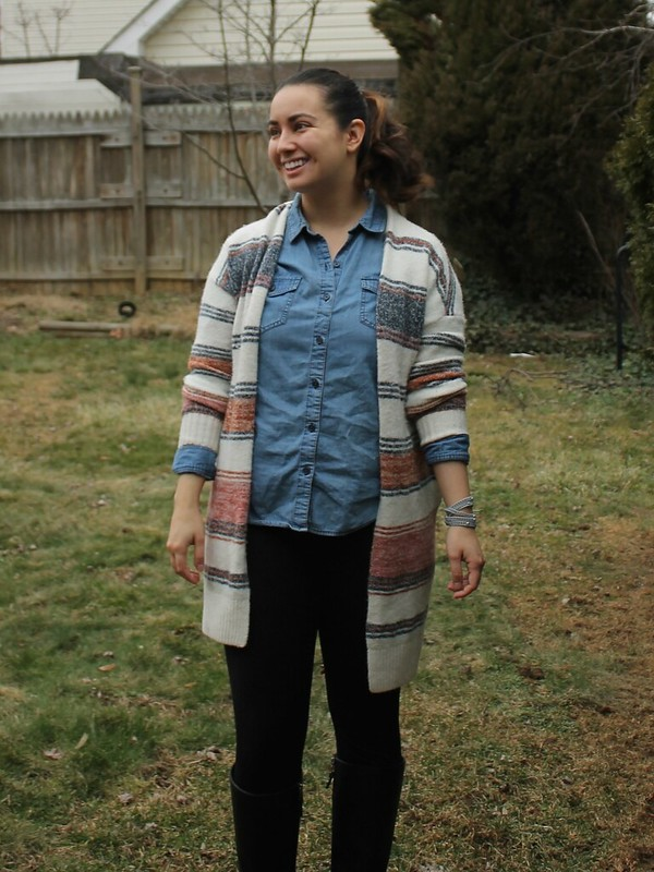 LOFT Cardigan and Victoria Emerson bracelet