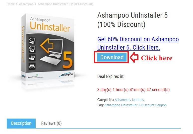 Bản quyền miễn phí Ashampoo UnInstaller 5 bước 2: click download