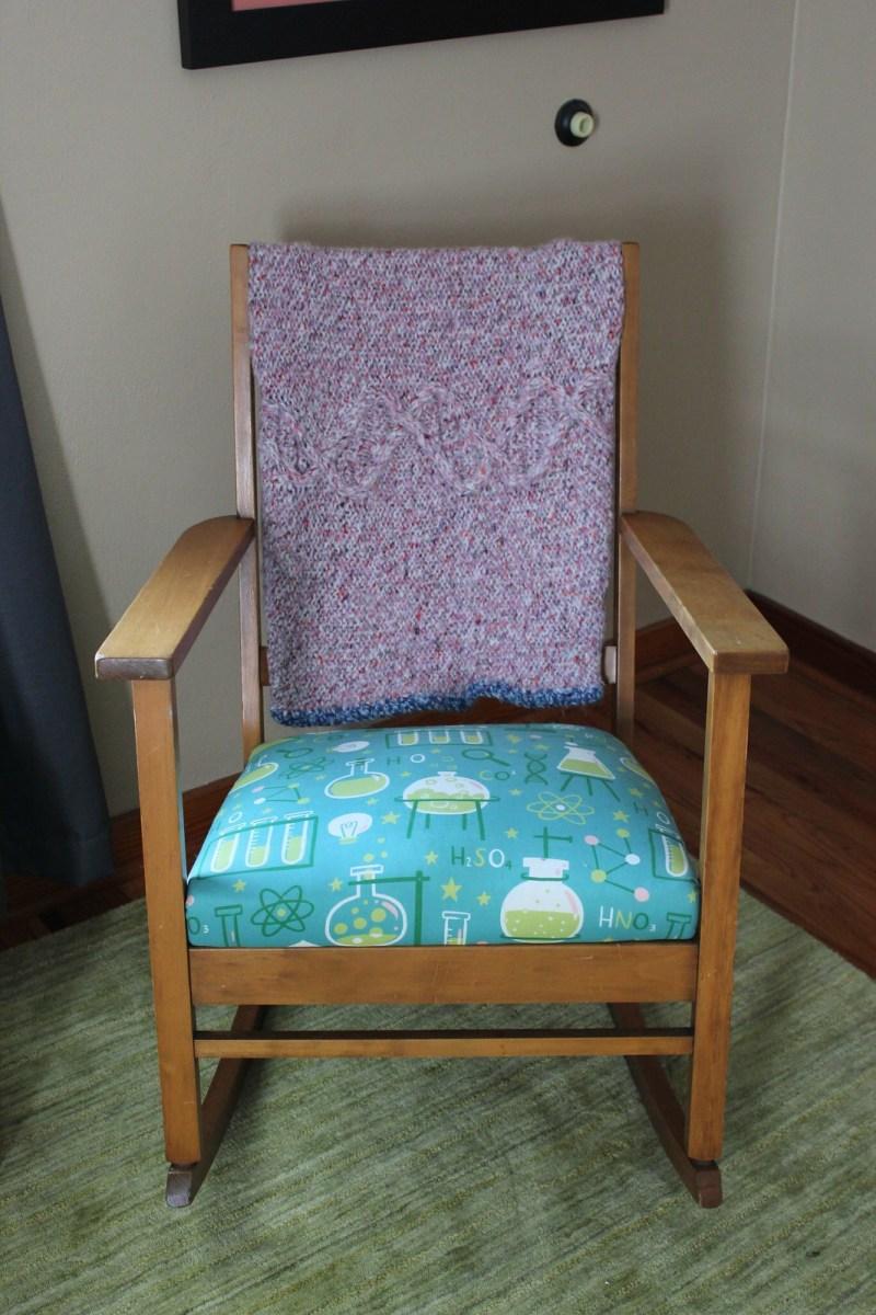 Rocking Chair w/ Crocheted Blanket