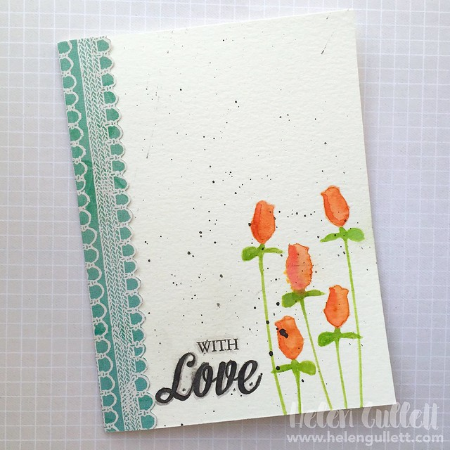 With Love.... A one-layer, clean and simple card. Watercolor using stencil. More on my blog -- http://wp.me/p1DmW0-2ei #thestampnation #creativestencilandmedium #thedailymarker3day #ssswchallenge #stamplorationscascardchallenge #WordArtWednesdayChallenge #watercoloring #cardmaking #handmadecard #valentinecard #onelayercard #cleanandsimplecard