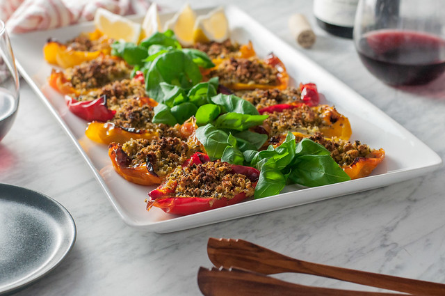 Rainbow bell peppers with herbed breadcrumbs appetizer (make ahead and accidentally vegan!)