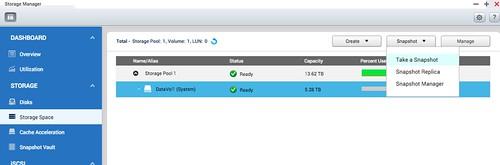 สร้าง Snapshot ได้ที่ Storage Manager