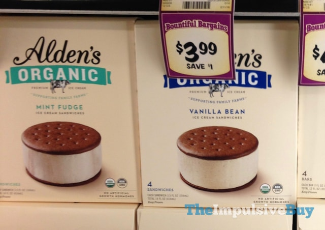 Alden's Organic Mint Fudge and Vanilla Bean Ice Cream Sandwiches