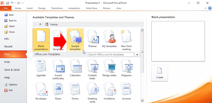 create presentation based on the template