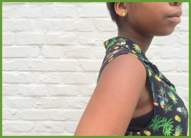 parrot shirt dress (side) - Bangkok Basic blouse hack