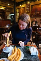 Granada: breakfast with churros at Grand Café Bib Rambla