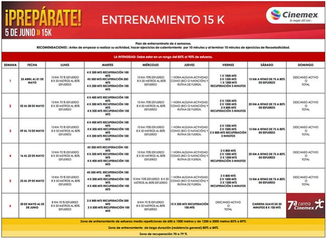 Plan Cinemex 15K