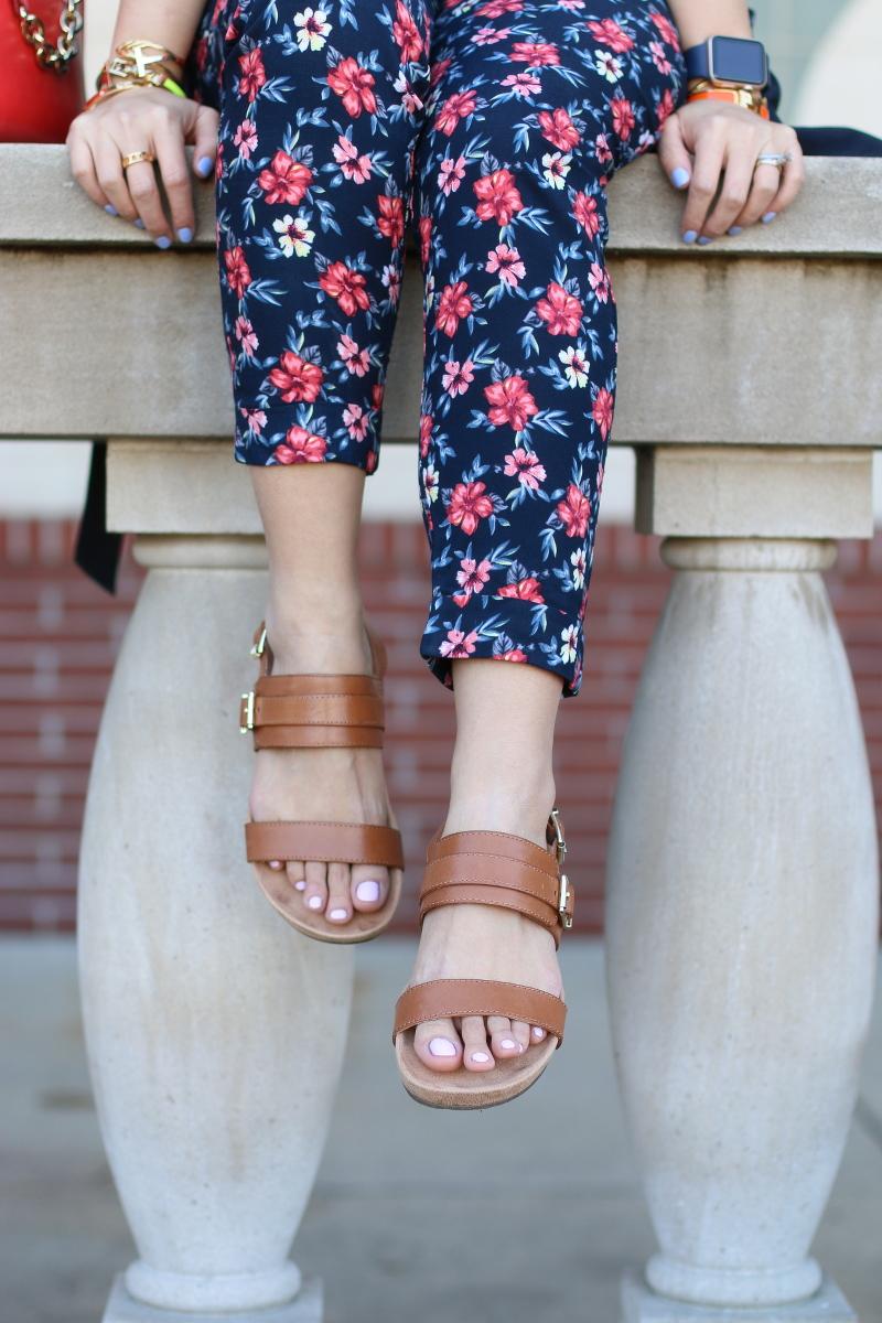 Vionic shoes, samar sandals, floral pants