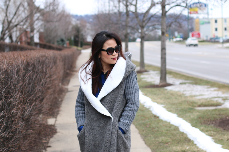 sheIn sweater coat, quay sunglasses, lancome red lips