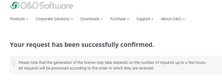 Thông báo đăng kí thành công bản quyền miễn phí phần mềm O&O Defrag 18 Pro