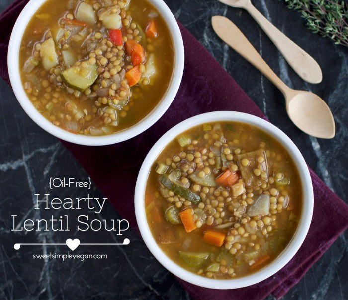 Vegan Valentine's Day Menu - Hearty Lentil Soup | consciouschris.net // sweetsimplevegan.com