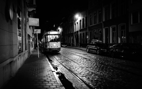 Tram in the night