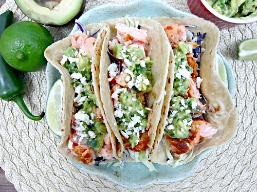 Salmon Tacos with Avocado Salsa