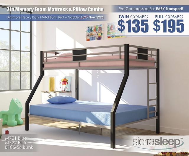 Sierra Sleep 7in Mattress & Dinsmore Bunk B106_M72121-M72211