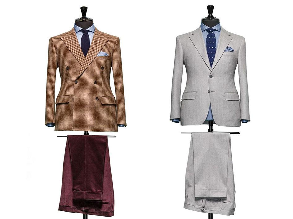 looks con traje para hombre en distintos tonos con corbata y camisa azul