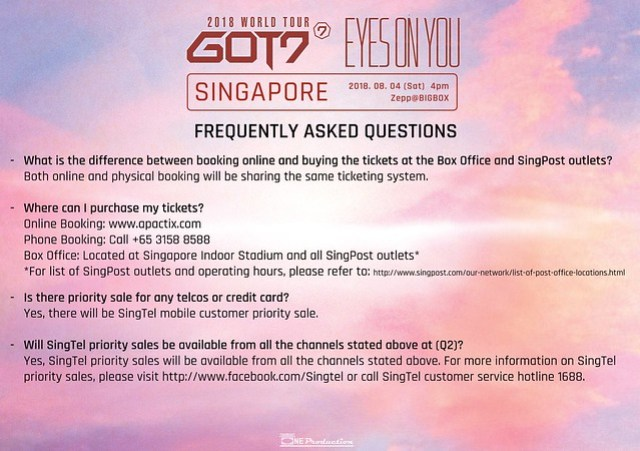 GOT7 'EYES ON YOU' WORLD TOUR IN SINGAPORE FAQ1