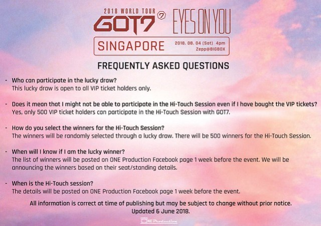 GOT7 'EYES ON YOU' WORLD TOUR IN SINGAPORE FAQ2