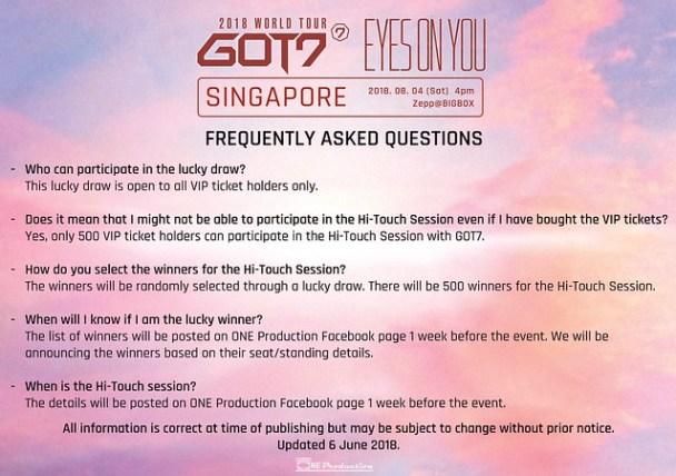 GOT7 'EYES ON YOU' WORLD TOUR IN SINGAPORE FAQ2