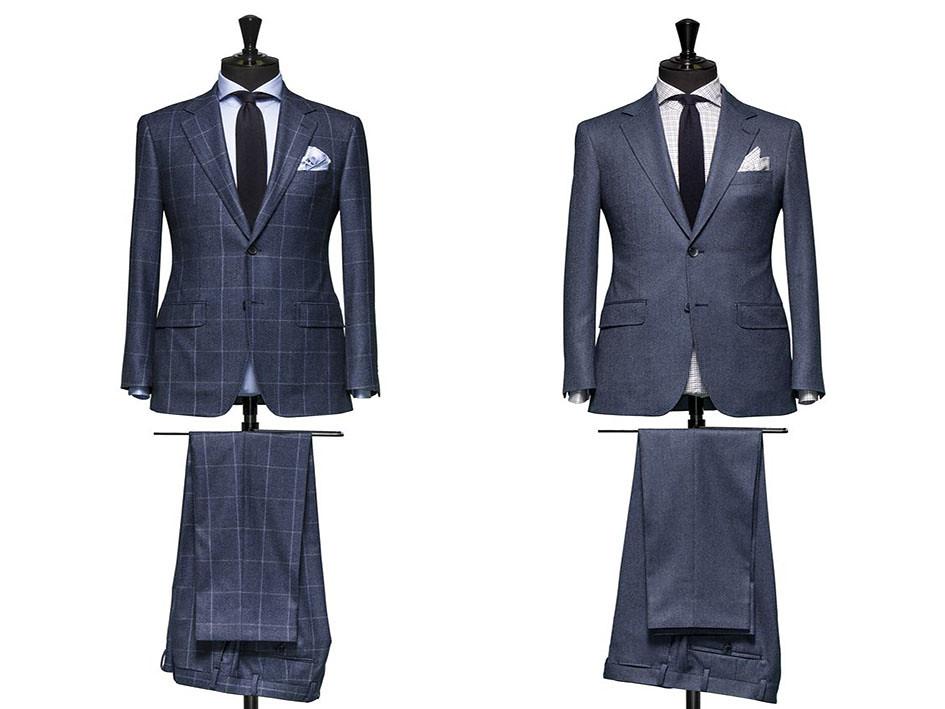 Trajes para hombre azules con corbata y camisa