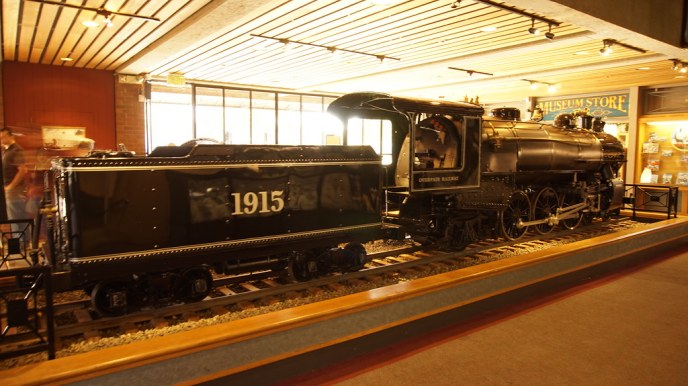 A 1/3rd scale model and live steam locomotive at the entrance
