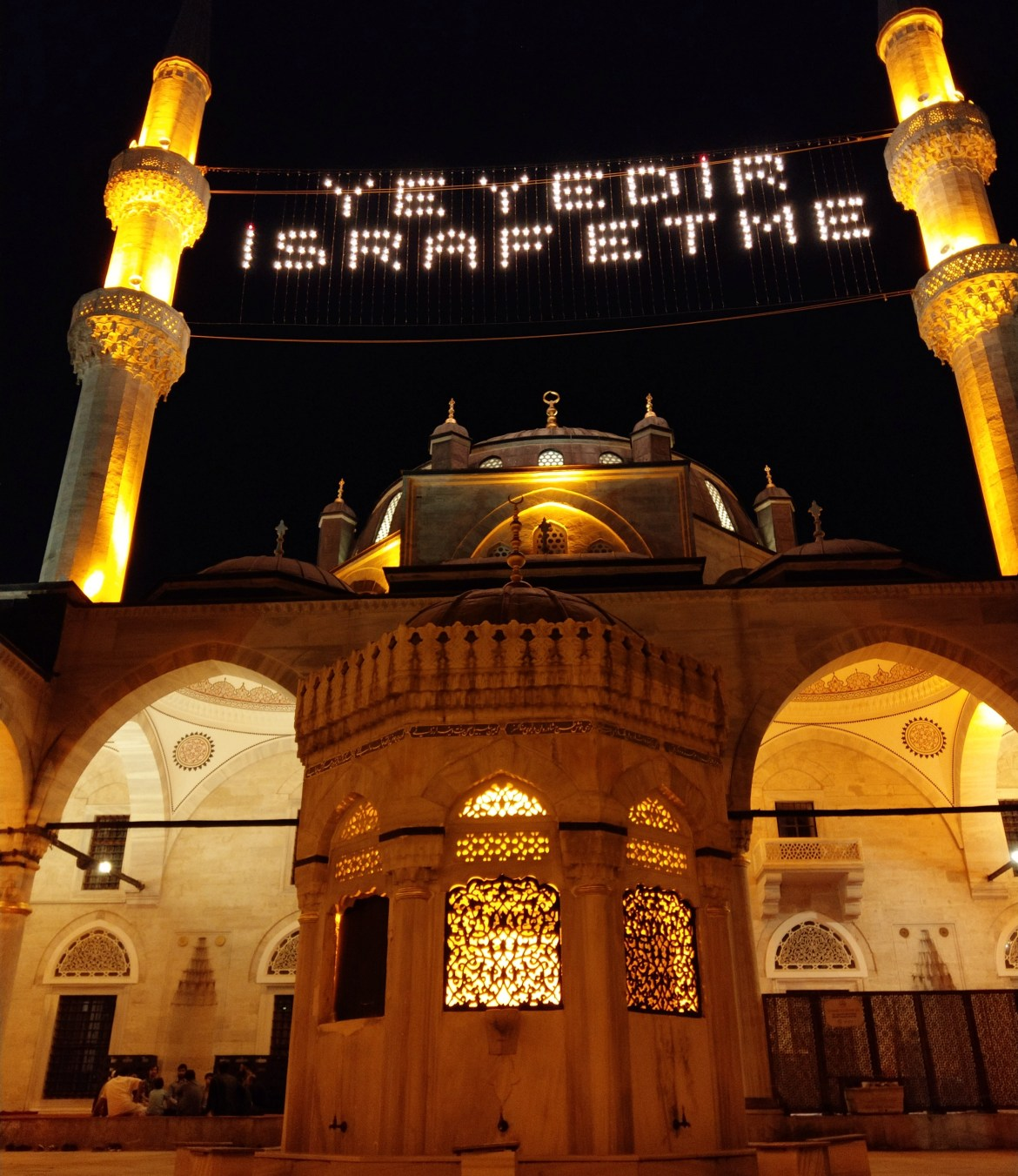 1) ValideHane Mosque decorated with Ramadan Lights (Mahya) (writtenEat Dont be Extravagant)