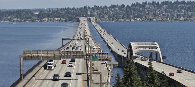 Interstate 90 floating bridges from East Portal Viewpoint