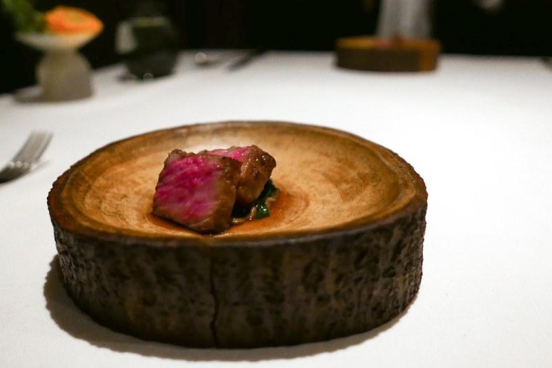 Japanese A5 Wagyu, ramp soubise, chestnut royale, sauce bordelaise