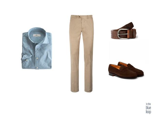 Look smart-casual con camisa azul, cinturón nublo de blue hole para hombre, zapatos loafer y chinos beige