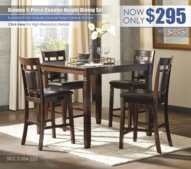 Bennox 5PC Counter Height Dining Set_D384-223-R400122