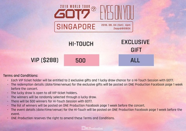 GOT7 'EYES ON YOU' WORLD TOUR IN SINGAPORE PERKS