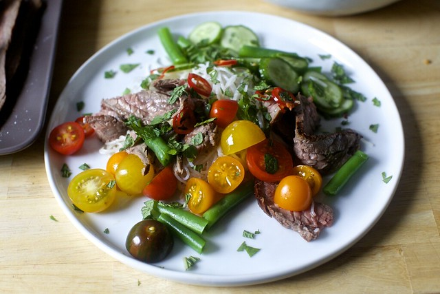 garlic-lime steak and noodle salad