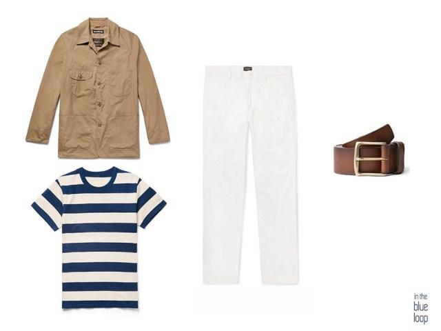 Look casual para hombre con vaqueros blancos, camiseta de rayas azules, cinturón garoé de blue hole y sahariana