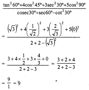 RD Sharma 10 Solutions Chapter 5 Trigonometric Ratios