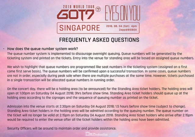 GOT7 'EYES ON YOU' WORLD TOUR IN SINGAPORE FAQ3