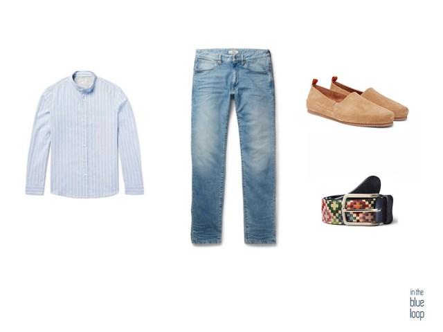Look casual con cinturón tauce de blue hole, camisa azul, vaqueros  o jeans y zapatos loafer para hombre