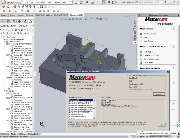 Working with Mastercam 2019 (v21.0.17350.10) for SolidWorks full