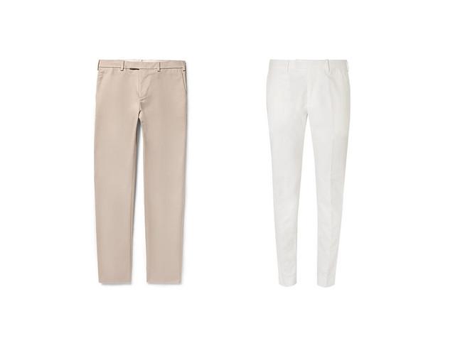Pantalones de vestir masculinos en beige y blanco