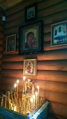 2018 06 17 Orthodox icons on the wall of  wooden church