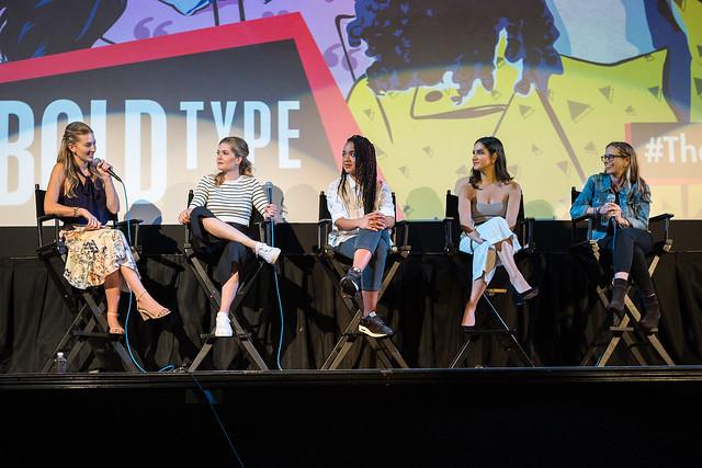 Moderator Leanne Aguilera, Meghann Fahy, Aisha Dee and Nikohl Boosheri with Executive Producer Amanda Lasher