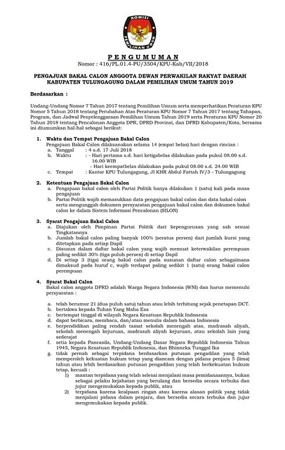 PENGUMUMAN: PENGAJUAN BAKAL CALON ANGGOTA DPRD KAB.TULUNGAGUNG DALAM PEMILU 2019 (001)