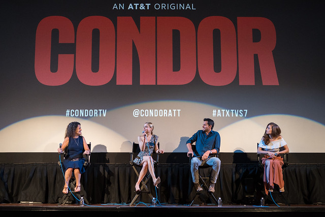 Moderator Debra Birnbaum, Kristen Hager, Kristoffer Polaha and Katherine Cunningham