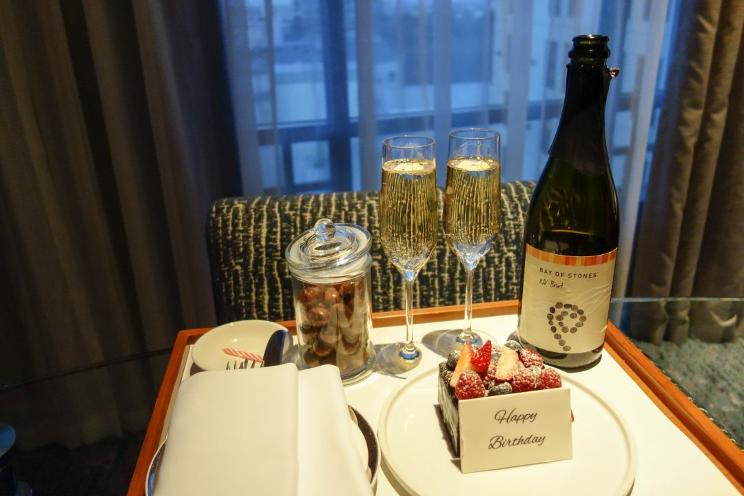 Birthday cake and sparkling wine from Park Hyatt Melbourne