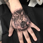 For Harry. Done at New Wave Tattoo, London. Thankyou mate! #tiger #handtattoo #blackandgreytattoo