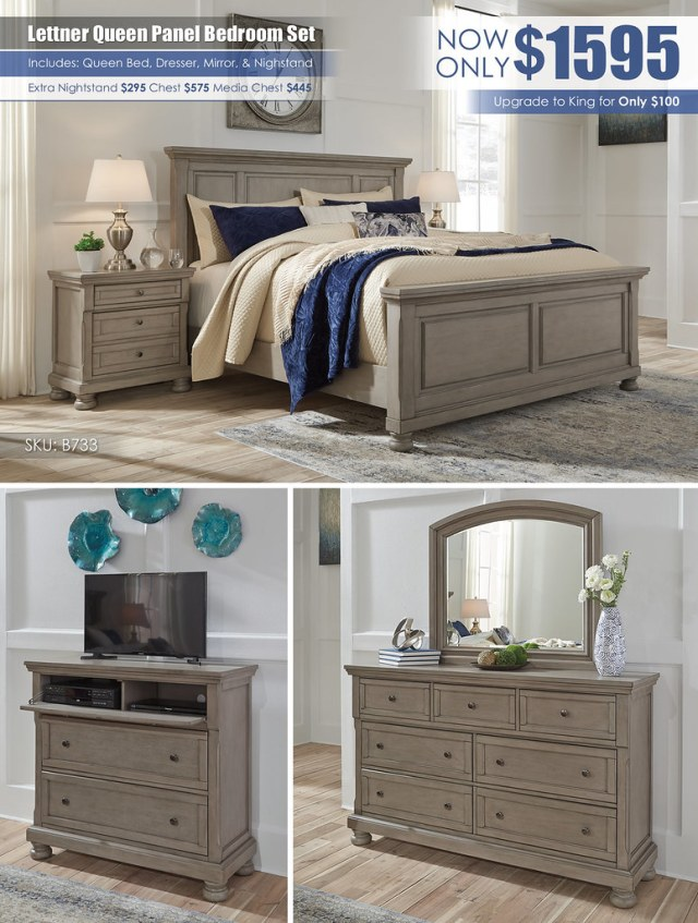 Lettner Queen Panel Bedroom Set_B733