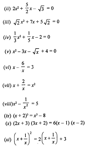 RS Aggarwal Class 10 Solutions Chapter 10 Quadratic Equations Ex 10A