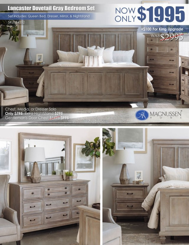 Lancaster Dovetail Gray Bedroom Set_NEWcollage_B4352
