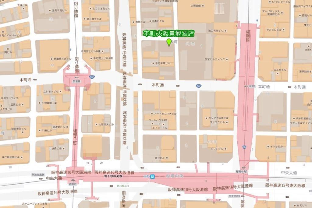 Osaka View Hotel Honmachi Map 2