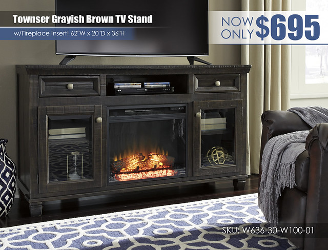 Townser Grayish Brown TV Stand wFireplace_W636-30-W100-01