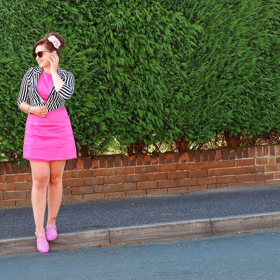 Cerise Pink Shift Dress and Stripes Jacket Sun Jellies Violet