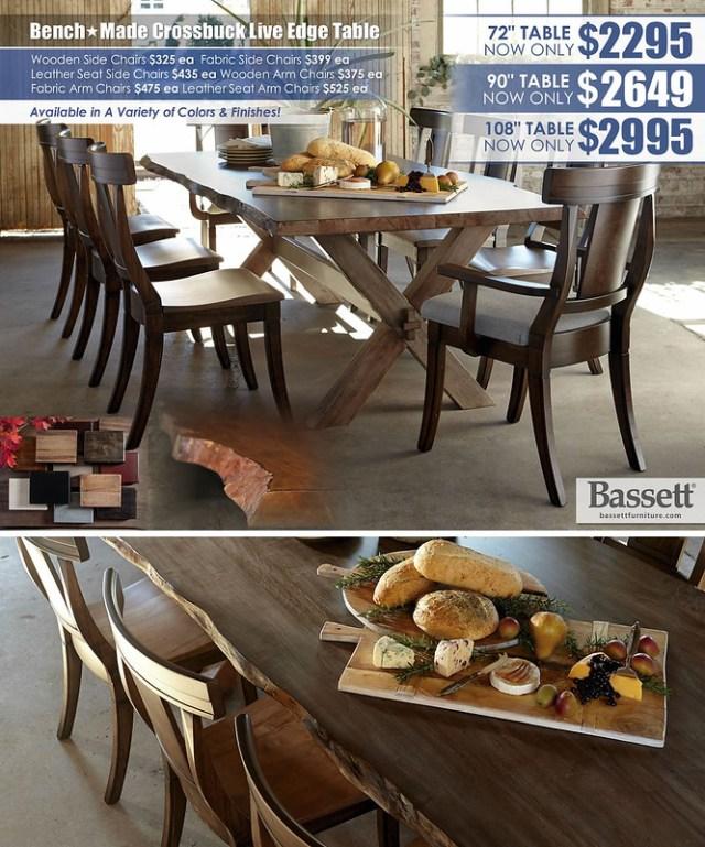 Bench Made Crossbuck Live Edge Table - BassettLG